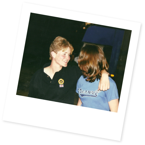 Retro picture of Jennifer and Stacy chatting