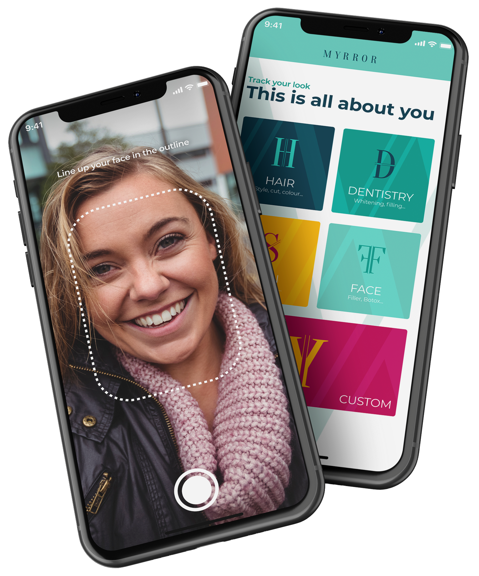 Two mobile phones displaying images from the Myrror App